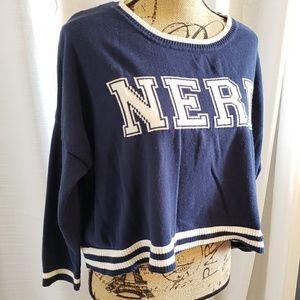 Xhilaration Sweaters - Xhilaration Blue and White Nerd Cropped Sweater